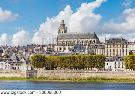 Cityscape Blois With The Cathedral Of St. Lois And Loire River, Loir-et-cher In France