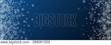White Snow Vector Blue Background. Sky Snowfall Holiday. Silver Winter Backdrop. Holiday Snowflake T