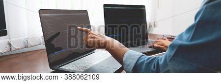 Software Developer Or Programmer Working Data Debugging Improvement Binary Algorithm On Desktop Pc I