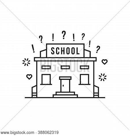 Linear School Building Like Education. Flat Stroke Style Trend Modern Construction Logotype Graphic