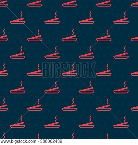 Red Line Scented Spa Stick On A Wooden Stand Icon Isolated Seamless Pattern On Black Background. Inc