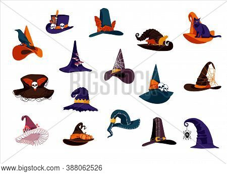 Witch Hats Collection. Creepy Wizards Headgears Of Of Different Colors With Buckles. Halloween Holid