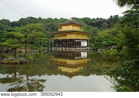 Fuji City, Shizuoka-Ken, Japan - August 29, 2009: Kinkaku-ji (Golden Pavilion), officially named Rokuon-ji, is a Zen Buddhist temple in Kyoto, Japan.