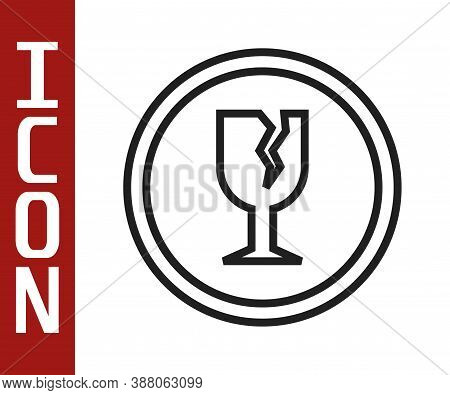 Black Line Fragile Broken Glass Symbol For Delivery Boxes Icon Isolated On White Background. Vector