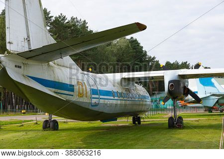 Minsk, Belarus - September 20, 2020: The Tail Section Of The Aircraft Fuselage Is An Old Soviet Civi