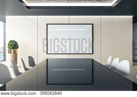 Luxury Meeting Interior With Long Conference Table And  Projector Screen On Wall. Workplace And Comp