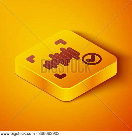 Isometric Line Voice Recognition Icon Isolated On Orange Background. Voice Biometric Access Authenti