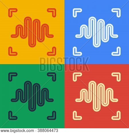 Pop Art Line Voice Recognition Icon Isolated On Color Background. Voice Biometric Access Authenticat