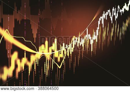 Creative Glowing Forex Chart Backdrop With Candlestick And Index Grid. Trading And Finance Concept.