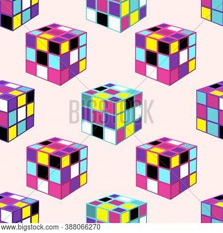 Vilnius, Lithuania - October 04, 2020: Pattern Of Multicolored Rubik's Cubes. Vector Illustration.