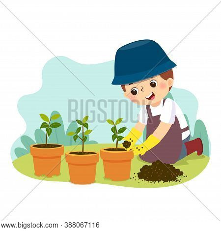 Vector Illustration Cartoon Of A Little Boy Doing Gardening. Kids Doing Housework Chores At Home Con