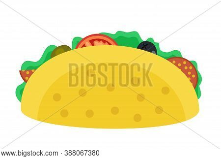Mexican Taco Icon. Taco Vector Illustration In Flat Style. Taco Mexican Food. Traditional Tacos Isol