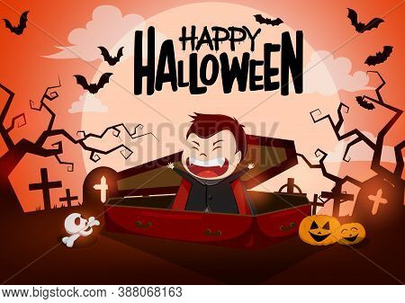 Halloween Vampire Character Vector Background Design. Happy Halloween Text With Funny Vampire Charac
