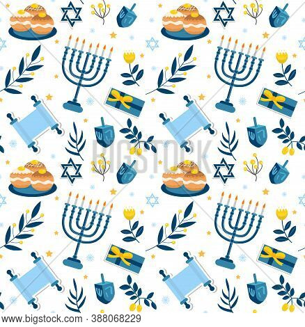 Happy Hanukkah Seamless Pattern. Hanukkah Jewish Holiday Repeating Texture, Endless Background. Vect