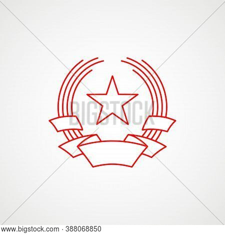 Linear Icon Of Communism. Red Star With Stripe. Soviet Emblem. Minimalist Coat Of Arms Of The Ussr.