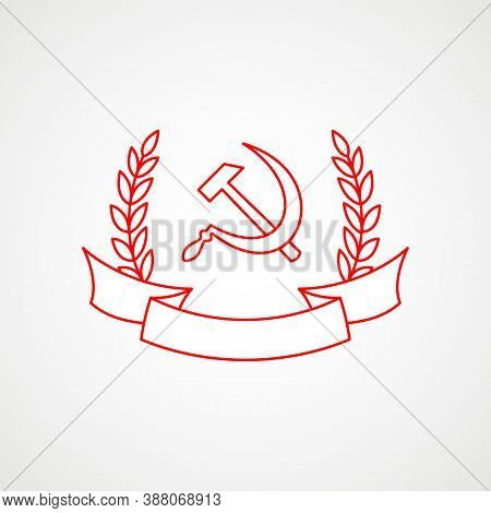 Linear Icon Of Communism. Hammer, Sickle And Wreath With Band. Red Soviet Emblem. Minimalist Coat Of
