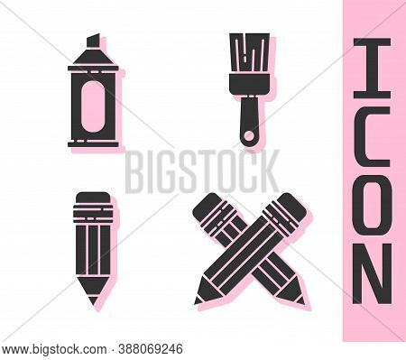 Set Crossed Pencil With Eraser, Marker Pen, Pencil With Eraser And Paint Brush Icon. Vector