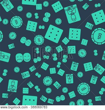 Set Game Dice, Casino Dealer, Poker Player And Casino Chips On Seamless Pattern. Vector