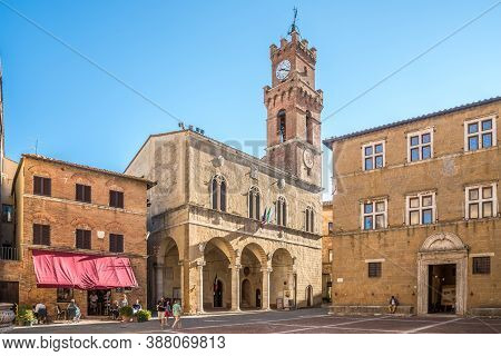 Pienza,italy - September 5,2020 - View At The Building Of Town Hall In Pienza.pienza Is A Town And C