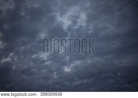 Heavenly Landscape. Evening Clouds. Beauty Of Nature. Gloomy Sky Background. Tragic Notes In Nature.