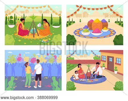 Indian Holidays Flat Color Vector Illustration Set. Traditional Hindu Festival Celebration. Lohri An
