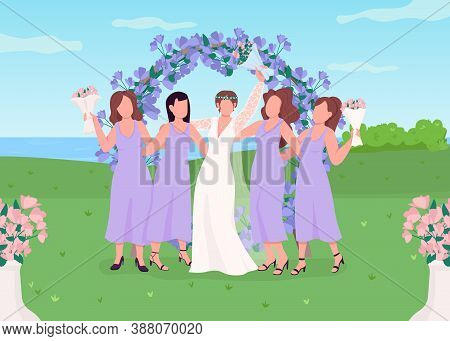 Bride With Bridesmaids Flat Color Vector Illustration. Wedding Celebration. Floral Arch Photozone Fo