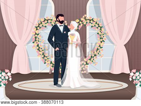 Muslim Newlyweds Flat Color Vector Illustration. Bride And Groom Near Luxury Photozone. Floral Arch