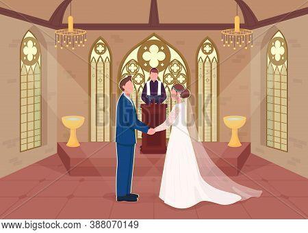 Religious Wedding Ceremony Flat Color Vector Illustration. Priest Does Matrimony Service. Couple Mar