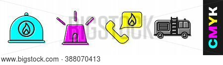 Set Firefighter Helmet, Flasher Siren, Telephone With Emergency Call 911 And Fire Truck Icon. Vector
