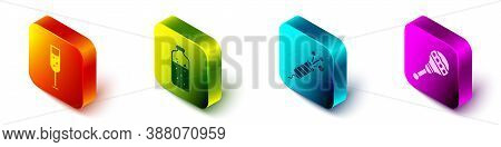 Set Isometric Glass Of Champagne, Mulled Wine, Firework Rocket And Maracas Icon. Vector