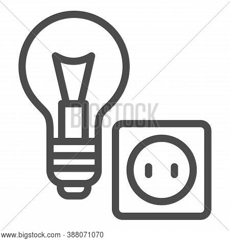 Light Bulb And Socket Line Icon, Home Repair Concept, Electric Repair And Installation Sign On White