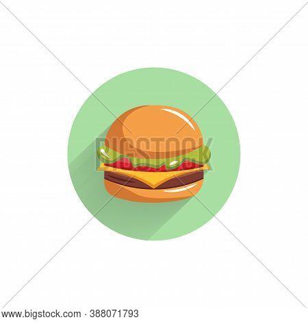 Hamburger Colorful Flat Icon With Long Shadow. Hamburger Flat Icon