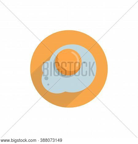 Fried Egg Colorful Flat Icon With Long Shadow. Egg Flat Icon