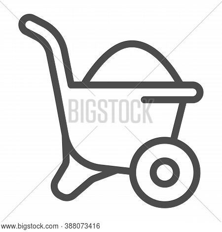 Sand In Wheelbarrow Line Icon, House Repair Concept, Sand Trolley Sign On White Background, Construc
