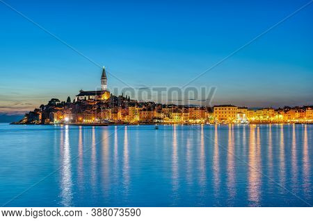 View Of The Beautiful Old Town Of Rovinj In Croatia At Night