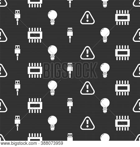 Set Exclamation Mark In Triangle, Processor With Microcircuits Cpu, Usb Cable Cord And Light Bulb Wi