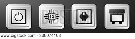 Set Electric Light Switch, Processor With Microcircuits Cpu, Electric Light Switch And Fuse Icon. Si