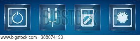 Set Electric Light Switch, Audio Jack, Multimeter And Electric Light Switch. Square Glass Panels. Ve