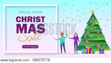 Christmas sale background. Merry Christmas sale card with people vector Illustration. Christmas sale background. Merry Christmas sale card vector Illustration. Christmas background. Merry Christmas card vector Illustration.Christmas. Christmas Vector. Chr