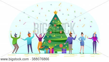 Merry christmas. The company of young people celebrates the new year. Christmas sale background. Merry Christmas sale card vector Illustration. Christmas background. Merry Christmas card vector Illustration.Christmas. Christmas Vector. Christmas Backgroun