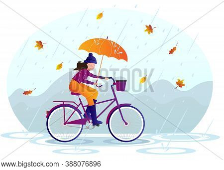 Young Woman With Umbrella Rides A Bike Under The Rain Illustration. Windy And Rainy Day And Young Wo