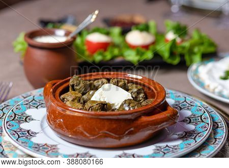 Dolma Meal, Azerbaijani Meal Close Up View