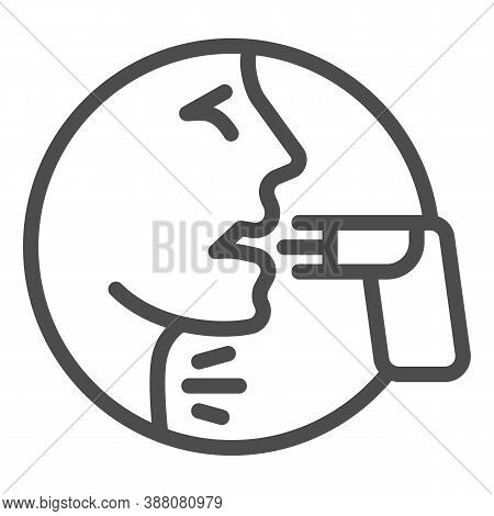 Face And Asthma Inhaler Line Icon, Allergy Concept, Applying Inhalant Sign On White Background, Pers