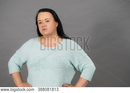 Plus Size Mature Woman In Jumper