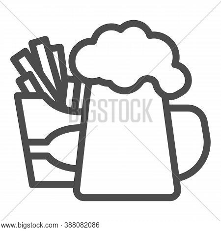 Fried Potatoes And Mug Of Beer Line Icon, Craft Beer Concept, Fast Food Sign On White Background, Be