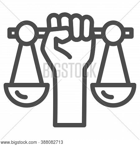 Hand Holding Scales Line Icon, Black Lives Matter Concept, Civil Rights Sign On White Background, Ju