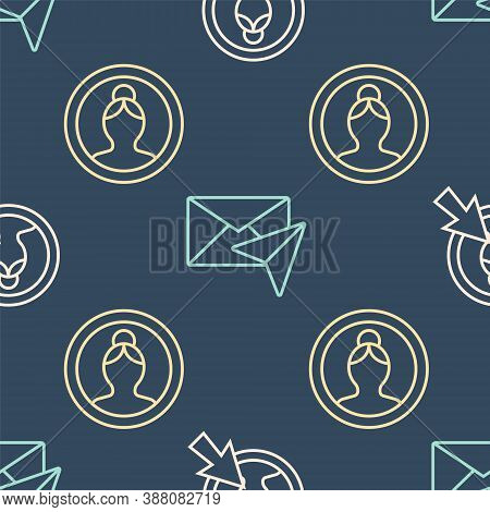 Set Line Create Account Screen, Create Account Screen And Envelope On Seamless Pattern. Vector
