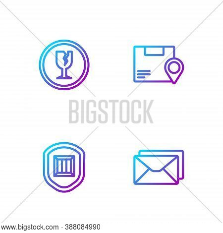 Set Line Envelope, Delivery Security With Shield, Fragile Broken Glass And Location Cardboard Box. G