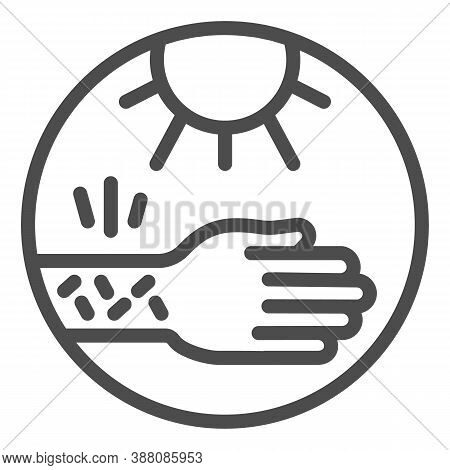 Hand With Irritate Skin And Sun Line Icon, Allergy Concept, Allergy To Sunburn Sign On White Backgro