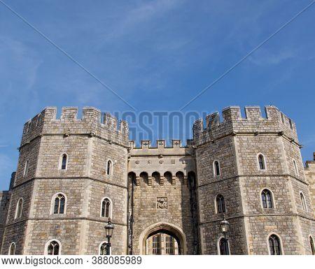 19 September 2020 - Windsor Uk: Part Of Windsor Castle With Copy Space